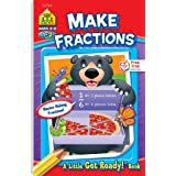 School Zone - Make Fractions Workbook - Ages 6 to 8, 1st Grade, 2nd Grade, Activity Pad, Math, Shapes, Basic Fractions, Probl