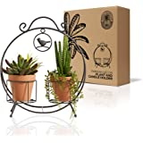 Regal Trunk 2 Pot Mini Plant Stand and Pillar Candle Holder - Rustic Indoor Outdoor Mini Plant Stand - Flower Pot Stand - Her