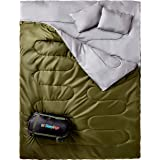 Sleepingo Double Sleeping Bag for Backpacking, Camping, Or Hiking. Queen Size XL! Cold Weather 2 Person Waterproof Sleeping B