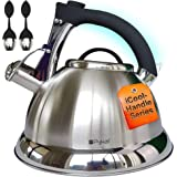 Whistling Tea Kettle with iCool - Handle, Surgical Stainless Steel Teapot for ALL Stovetops, 2 FREE Infusers Included, 3 Quar
