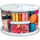 "Deflecto Rotating Carousel Craft Organizer, 9-Canister, Includes 3"" and 6"" Canisters, Removable, Clear, Lids"