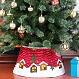 Yomikoo Christmas Tree Collar,Tree Stand Band with Log Cabin for X'Mas Tree,Home Decoration