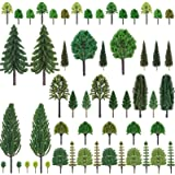 "Nilos 55pcs Mixed Model Trees, 1""-6.7""(23mm-170mm), Model Train Scenery,  Trees for Projects, Woodland Scenics with No Bases,"