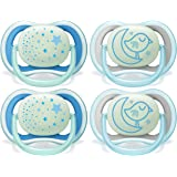 Philips AVENT Ultra Air Nighttime 6-18 Months Pacifier, SCF376/43, Blue, (Pack of 4)