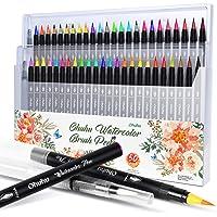 水彩毛筆48色+水ペン2本 Ohuhu カラー筆ペン 水彩筆 水性 水彩画 ブラッシュ レタリング イラスト 手帳 色塗…