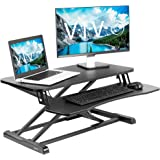 VIVO Stand Up Height Adjustable 32 inch Desk Riser, Sit Standing Converter, Dual Monitor and Laptop Workstation, Black, DESK-
