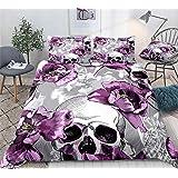 Flowers Skull Duvet Cover Queen Set Purple Floral Bedding Set Violet Tulips and Skulls Pattern Printed Purple Grey Comforter