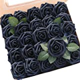 Floroom Artificial Flowers 25pcs Real Looking Navy Blue Fake Roses with Stems for DIY Wedding Bouquets Bridal Shower Centerpi