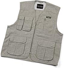 メンズ 綿麻 ベスト お試し用 コットン&リネン フィッシングベスト トラベルベスト 多機能ポケット付き リラックスウエアー 麻混 素材 が シャリ感 が有り 快適 です。 2,グレー M/身長160~170,胴囲76~84cm