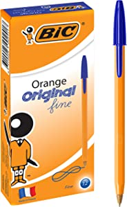 BIC Orange Fine Ball Pens (0.8 mm) - Blue, Box of 12