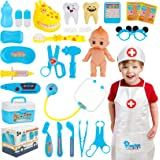 Hapgo Kids Doctor Kit 29 Pieces Pretend Play Doctor Toys Set, Dentist Medical Kits with Electronic Stethoscope and Doctor Rol