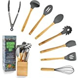 SPLIT PEAS Kitchen Utensil Set with 8 Kitchen Tools + Eco-Friendly Bamboo Holder   Non-Scratch Cooking Utensils   Bamboo & Si