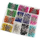 SUBANG 1200 Pieces Sewing Pins Multicolor Pearlized Head Pins for Dressmaking Jewelry Components Flower Decoration with Trans