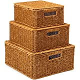 EZOWare Set of 3 Resin Woven Storage Basket Box with Lid, Wicker Hamper Shelf Organiser Bin Containers with Side Handles for