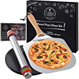 NeoCasa Black Round Ceramic Pizza Stone Pan Set with 12 inch Metal Pizza Peel & Adjustable Rolling Pin with Thickness Rings -