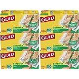 Glad Zipper Food Storage Sandwich Bags - 100 Count - 6 Pack