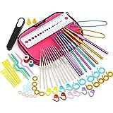 LIHAO かぎ針74点セット 編み針 レース針 目数リング 段数リング 段数マーカー 棒針キャップ ハサミ ケース付き 編み物 毛糸 セーター マフラー ニット