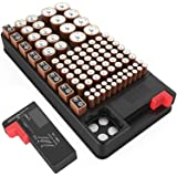 Battery Organizer Storage case with Battery Tester for AAA AA C D 9V and Button Batteries Storage Box Holds 110 Batteries Var