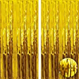 XtraLarge Gold Foil Curtain Party Decoration -3.2x10 Feet, Pack of 2 | Metallic Gold Foil Fringe Curtain | Gold Door Streamer