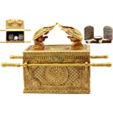 Ebros Matte Gold Holy Ark of The Covenant with Ten Commandments Rod of Aaron and Manna Religious Decorative Figurine Trinket