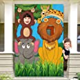 Jungle Animals Decorations Birthday Party Prop, Large Fabric Jungle Backdrop Photo Door Banner Background, Funny Jungle Anima