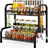 Spice rack, Swedecor 2 Tier Large Spice Rack Organizer for Countertop with Stepped Design, Seasoning Rack Kitchen Storage, Bl