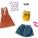 Barbie Fashions 2-Pack Clothing Set, 2 Outfits for Barbie Doll Include White Tee with Kitty Print, Yellow Meow Tie Shirt, Ora