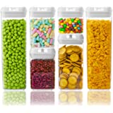 NUMYTON Airtight Food Storage Container with Easy Lock, Air-Tight Dry& Fresh Storage Set,BPA-Free Clear Durable Plastic (6PCs
