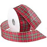 Morex Ribbon Festival Wired Plaid Fabric Ribbon, 1-1/2-Inch by 50-Yard Spool, Red