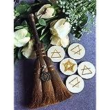 "OKDOKEY 9.4"" Witch Altar Broom & Four Elements and Pentacle Wood Runes Set | Miniature Pentagram Wicca Brush | Handmade Mane"