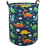 "AYTG 19.7"" Round Canvas Large Clothes Basket Laundry Hamper with Handles,Waterproof Cotton Storage Organizer Perfect for Kids"