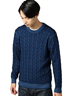 Wool Cable Crewneck Sweater 1213-105-3232: Navy