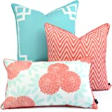 Hofdeco Spring Indoor Outdoor Cushion Cover ONLY, Water Resistant for Patio Lounge Sofa, Aqua Coral Pink Greek Key Chevron Fl