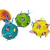 "Bonka Bird Toys 1237 3 Natural Stuffed Bamboo Balls 2"" Bird Toy Parrot Foraging Foot Craft Talon Cage"