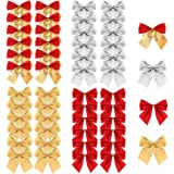 Christmas Ribbon Bows Ornaments, TERSELY 48 Pieces Christmas Ribbon Bows Ornaments Xmas Tree Bowknot Decoration Presents Wrap