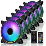 EZDIY-FAB Moonlight RGB Case Fan 120mm with Fan Hub X and Remote,Motherboard Aura SYNC, Speed Control,ARGB Computer Fan for P