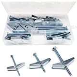 cSeao 24-Pack Spring Toggle Bolt Assortment Kit, Imperial 1/8 1/4 3/16 Male Thread Spring Loaded Hollow Wall Round Head Toggl