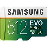 Samsung EVO Select 512GB microSDXC UHS-I U3 100MB/s Full HD & 4K UHD Memory Card with SD Adapter (MB-ME512HA/EU)