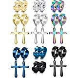 Florideco 10 Pairs Stainless Steel Hoop Cross Non Piercing Earrings for Men Women Huggie Cross Dangle Earring Clip On Fake Ga