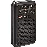 AudioComm (薄型・軽量・イヤホン付属) AM/FM/ワイドFM対応 ポケットラジオ オーム電機 RAD-P2227S-K(ブラック)