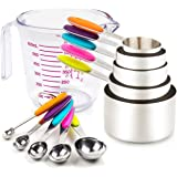 Measuring Cups and Spoons Set 11 Piece. Includes 10 Stainless Steel Measuring Cups and Spoons Set and 1 Plastic Measuring Cup