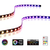 EZDIY-FAB Addressable RGB LED Strips with Magnet for PC Case,with Remote Control(Compatible with ASUS Aura Sync and MSI Mysti