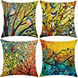 Unibedding Set of 4 Throw Pillow Covers Cases, Cotton Linen Decorative Pillowcase ?- ¡ Blue 4 Pack Birds