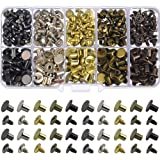 150 Sets Round Flat Head Chicago Screws Buttons Metal Studs Rivets Screwback Spots Metal Nail Rivet Studs for Leather Craftin