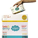 BETS & EMY American-Mom Made Baby Wipes 99.9% Water! (720 Count (12 Packs of 60 Count))
