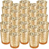 """Just Artifacts Mercury Glass Votive Candle Holder 2.75"""" H (25pcs, Speckled Gold) -Mercury Glass Votive Tealight Candle Holder"""