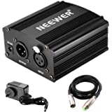 Neewer Phantom Power Kit Includes:1-Channel 48V Phantom Power Supply with Adapter and XLR Audio Cable for Any Condenser Micro