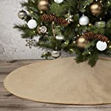 """yuboo Burlap Christmas Tree Skirt,48"""" Rustic Double Layers Xmas Tree Decorations for Farmhouse Party,Washable"""