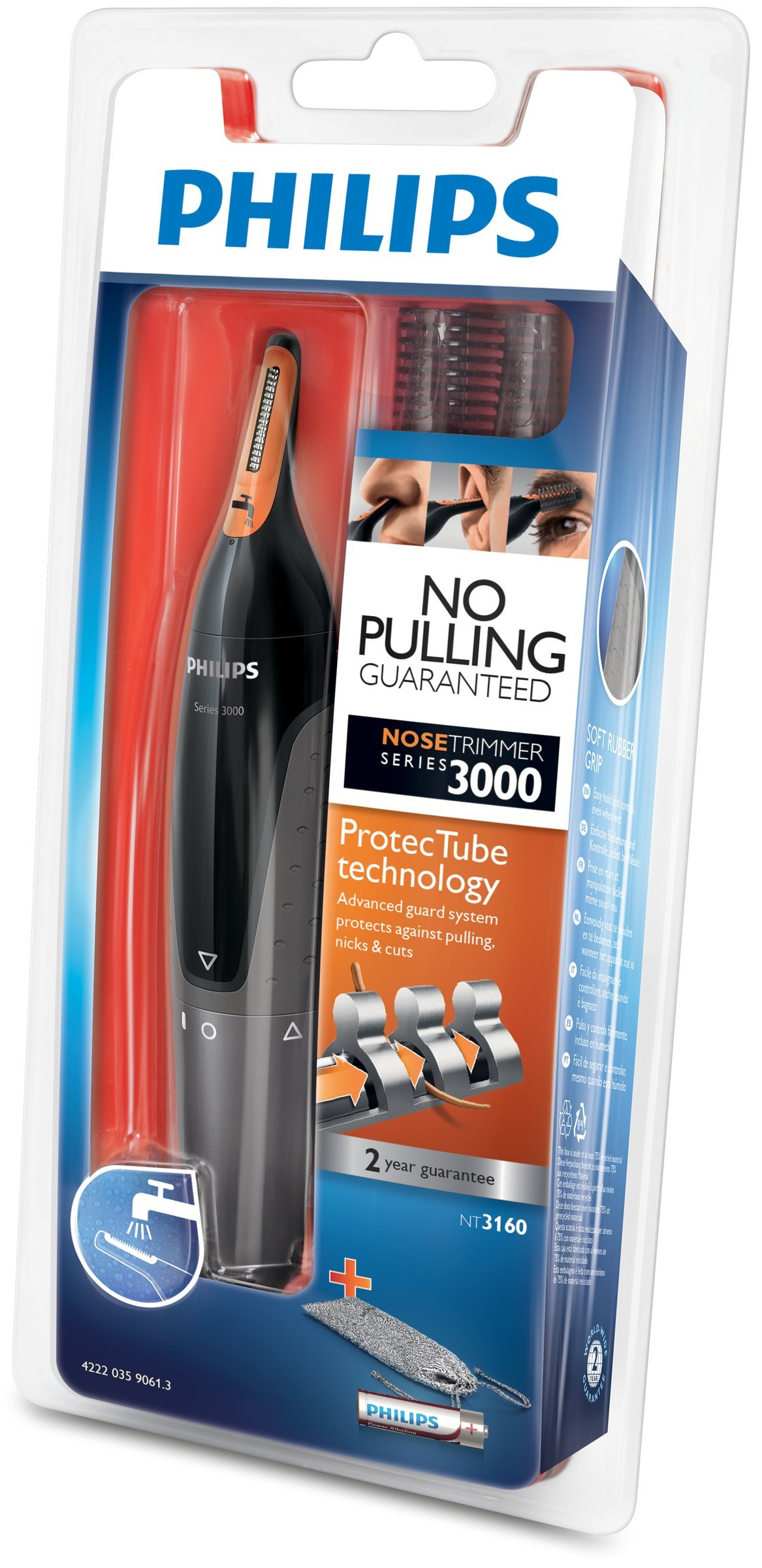 Philips Series 3000 Ear, Eyebrow & Nose Trimmer with 2 Eyebrow Combs & Pouch, Black & Grey, NT3160/10 2