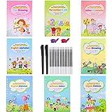 8 Pieces English Magic Practice Copybook for Kids Reusable Calligraphy Number Handwriting Copybook Tracing Book with 2 Magic